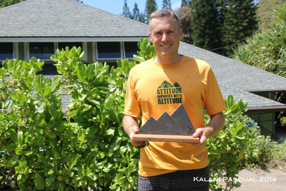 "1st Place Tantalus Triple Trek Trophy. Sporting my Mango Madness ""Attitude Improves with Altitude"" t-shirt."